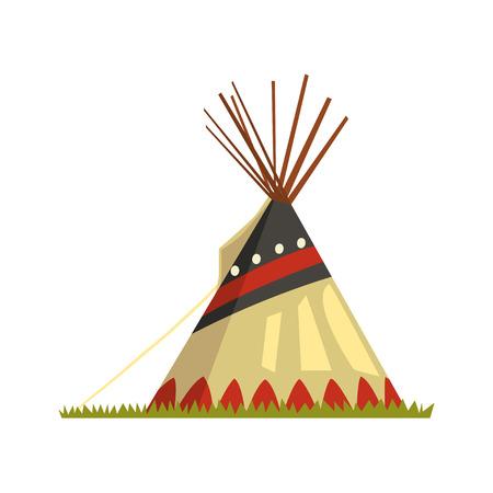 Illustrazione di vettore dell'abitazione del nativo americano del tepee, della tenda o del wigwam su un fondo bianco. Archivio Fotografico - 97827556