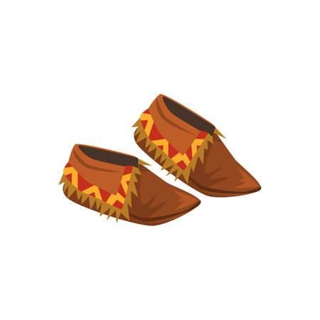 Native American Indian moccasins vector illustration on a white background.