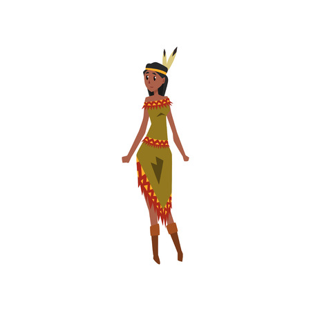 Native American Indian girl character in traditional Indian dress holding vector illustration on a white background.