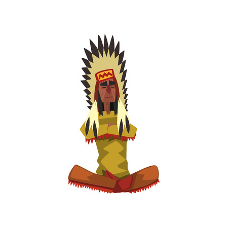 Native American Indian chief in traditional clothing sitting in lotus position vector illustration on a white background.