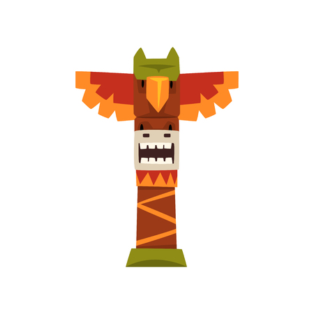 Native Indian totem pole vector illustration on a white background.