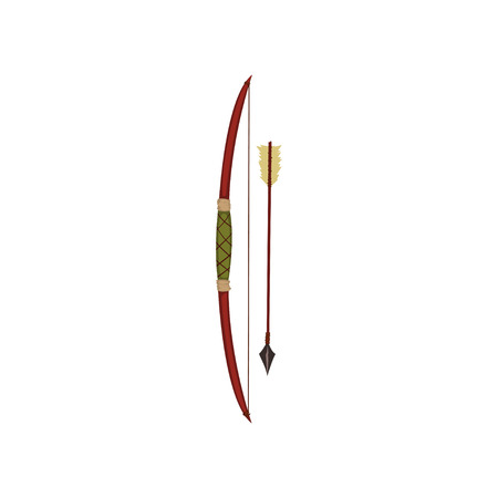 Bow and arrow, traditional weapon of native American Indian vector illustration on a white background.