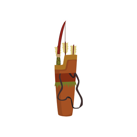Quiver with bow and arrows, traditional weapon of native American Indian vector illustration on a white background.