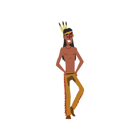 Native American Indian man in traditional costume vector illustration on a white background. 일러스트