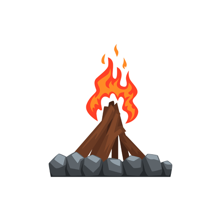 Burning bonfire vector illustration on a white background.