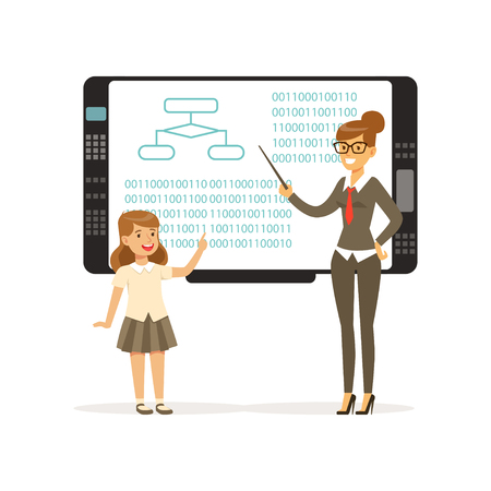 Teacher smiling, woman teaching girl with an interactive board, information lesson at school vector illustration.