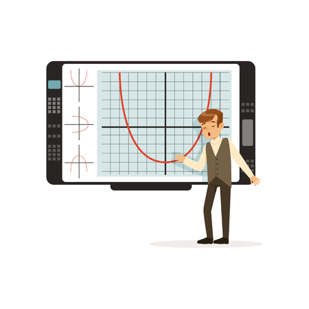 Schoolboy working with an interactive whiteboard at lesson at school vector illustration on a white background.