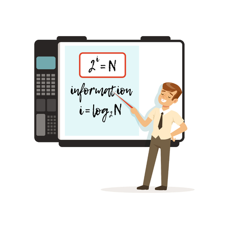 Schoolboy standing in front of an interactive whiteboard with mathematics formulas, modern school lesson vector illustration on a white background.