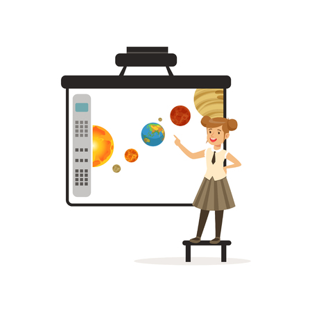 Schoolgirl standing in front of an interactive whiteboard, astronomy lesson at school vector illustration on a white background. Vectores