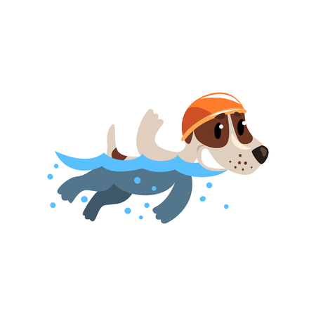 Cute jack russell terrier athlete swimming in pool, funny sportive pet dog character doing sports vector illustration on a white background.