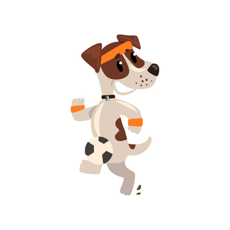 Cute jack russell terrier athlete jogging, funny sportive pet dog character doing sports vector illustration on a white background. Illustration