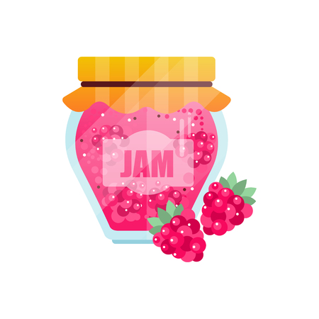Raspberry jam, glass jar of berry vector illustration on a white background.