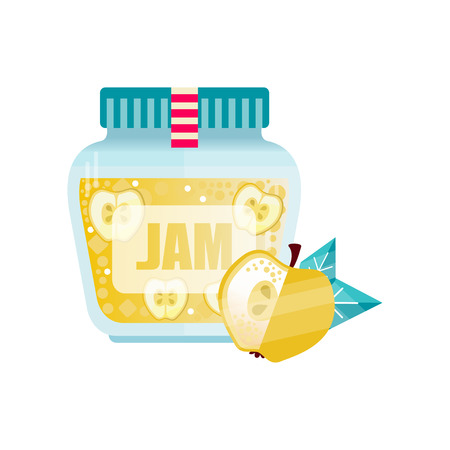 Apple jam, glass jar of fruit vector illustration on a white background. Stok Fotoğraf - 97852760