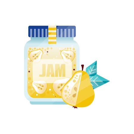 Pear jam, glass jar of fruit confiture vector Illustration on a white background