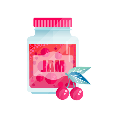 Cherry jam, glass jar of berry vector illustration on a white background.