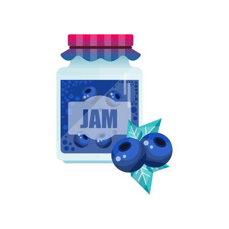 Blueberry jam, glass jar of berry vector illustration on a white background.