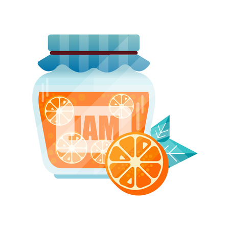 Orange jam, glass jar of fruit vector illustration on a white background.