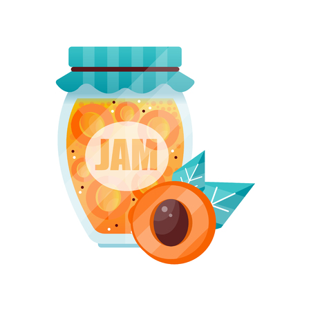 Apricot jam, glass jar of fruit vector illustration on a white background.
