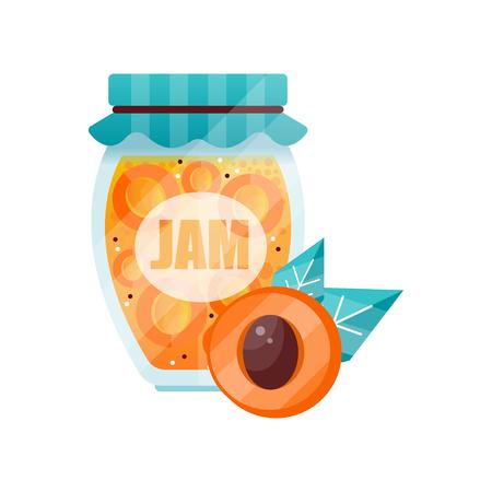 Apricot jam, glass jar of fruit vector illustration on a white background.