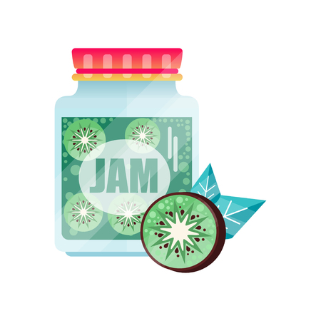Kiwi jam, glass jar of fruit vector illustration on a white background.  イラスト・ベクター素材