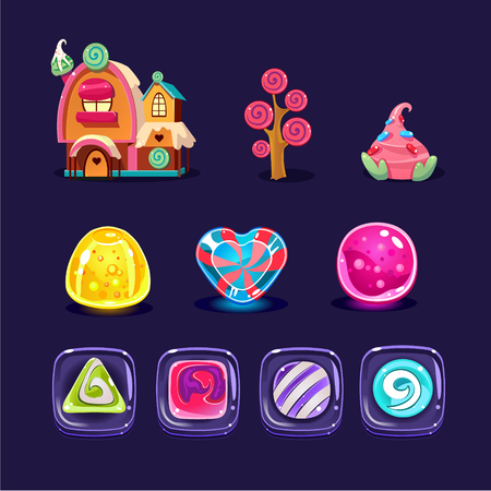 Vector set of colorful mobile game assets. Glossy caramel candies of various shapes, gingerbread house, sweet tree. Cartoon elements for gaming interface