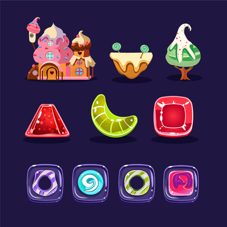 Vector set of assets for mobilecomputer game. Cute gingerbread house, caramel candies of various shapes, sweet tree and platform. Cartoon elements for gaming interface Ilustração