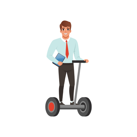 Man on self balancing electric scooter illustration Illustration