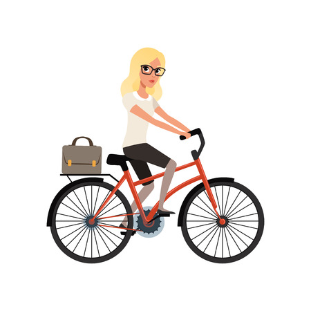 Woman riding bicycle image illustration Banque d'images - 98823977