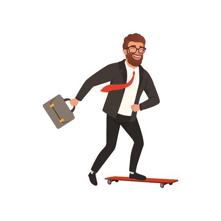 Cheerful businessman riding fast on skateboard vector illustration