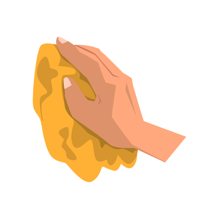 Human hand cleaning dirt with yellow rag vector illustration