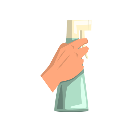 Human hand holding plastic spray bottle with cleaning liquid. Detergent for windows or mirrors. Housekeeping theme. Flat vector design