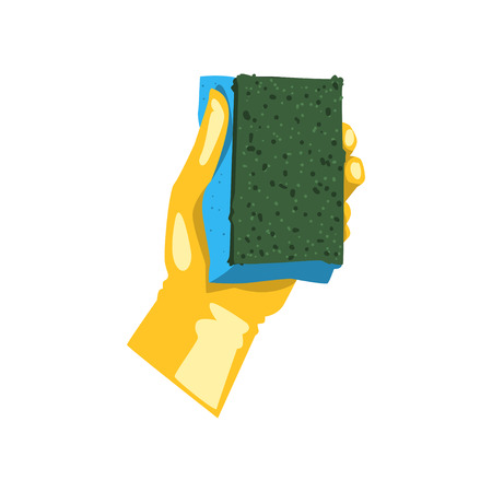 Colorful icon of human hand in protective glove holding sponge for dish washing. Kitchen tool for cleaning. Housekeeping theme. Flat vector design