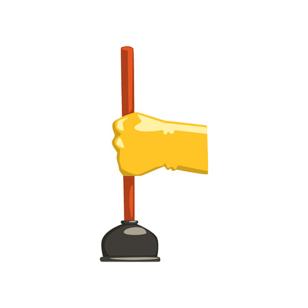Cartoon human hand in protective glove holding plunger with red handle. Domestic tool for clearing blocked pipes. Equipment for housekeeping. Flat vector icon Zdjęcie Seryjne - 97876850