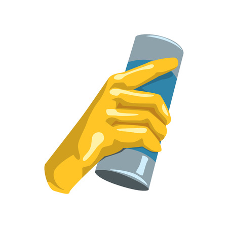 Colorful icon of human hand in protective glove holding bottle with cleaning powder for kitchen or bathroom. Household theme. Flat vector design Illustration