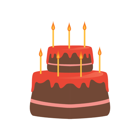 Two-tiered cake with red glaze and seven burning candles. Tasty dessert for Birthday celebration. Sweet pie. Cartoon design for postcard. Flat vector icon Illustration