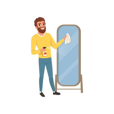 Young guy cleaning big bathroom mirror with rag and spraying detergent. Man doing housework. Flat vector design