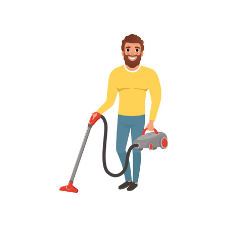 Cartoon character of smiling man with vacuum cleaner. House husband cleaning floor. Young bearded guy in gray yellow sweater and blue jeans. Flat vector design Illustration