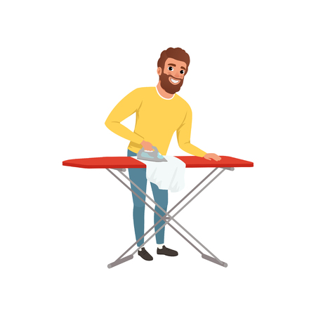 Cartoon man image ironing clothes illustration