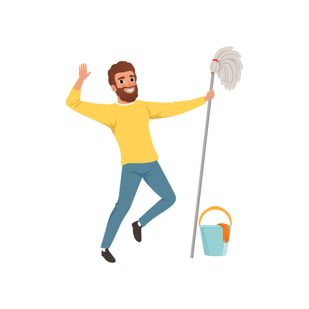 Happy bearded man with mop in hand, bucket and protective gloves vector illustration