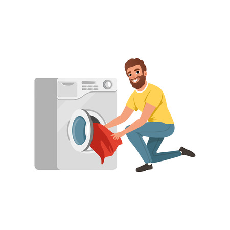 Cheerful bearded man putting dirty clothes into washing machine. Cartoon character of house husband. Young guy doing his housework. Flat vector design
