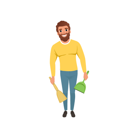 Young guy with broom and scoop in hands. Cheerful bearded man with household chores. Cartoon character of house husband. Flat vector design