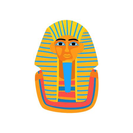 고대 이집트 파라오의 만화 그림입니다. 이집트 여행. 왕 투탕카멘의 화려한 동상입니다. 여행사 프로모션 포스터 그래픽 요소. 평면 벡터 아이콘 일러스트