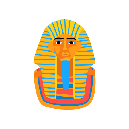 Cartoon illustration of ancient Egyptian pharaoh. Travel to Egypt. Colorful statue of king Tutankhamun. Graphic element for promo poster of travel agency. Flat vector icon