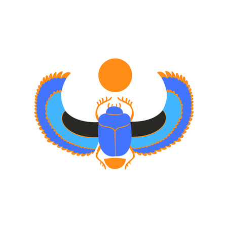 Scarab beetle with blue wings and orange sun. Symbol of ancient Egyptian culture and mythology. Vector icon of sacred insect in flat style Vectores