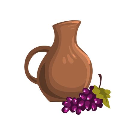 Brown ceramic pitcher image illustration