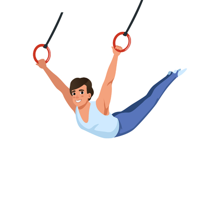 Young guy training on rings apparatus. Artistic gymnastics. Individual Olympic sport. Cartoon sportsman in gymnast costume. Flat vector design. Ilustração