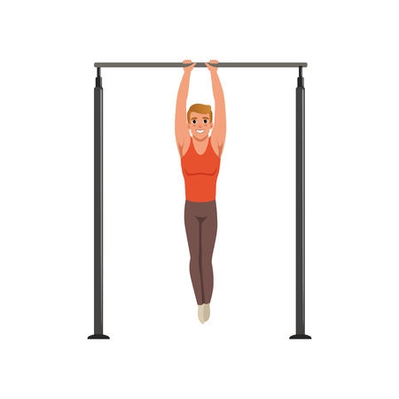 Handsome male gymnast training on horizontal bar vector illustration