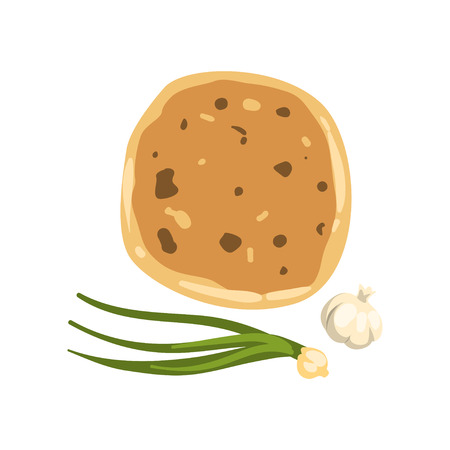 Cartoon illustration of khachapuri, green onion and garlic. Traditional Georgian dish of cheese-filled bread. National cuisine of Georgia. Flat vector icon Illustration