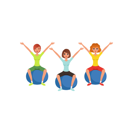 Young girls doing exercise while sitting on fitness balls. Women in colorful sportswear. Healthy lifestyle. Cartoon people in gym. Active workout. Flat vector