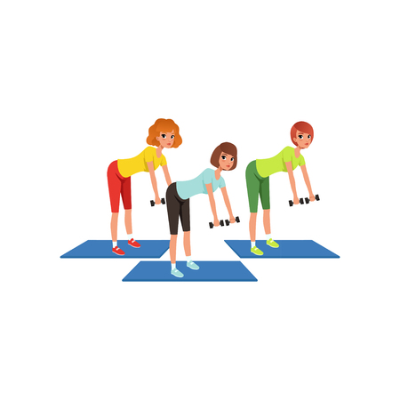 Women doing exercises for hands and back with dumbbells. Three young girls in fitness center. Active workout. Cartoon people in sports uniform. Flat vector design Ilustrace